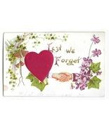 Lest We Forget Silk Heart Clasped Hands Vintage Embossed Gilded Novelty Postcard - €4,61 EUR