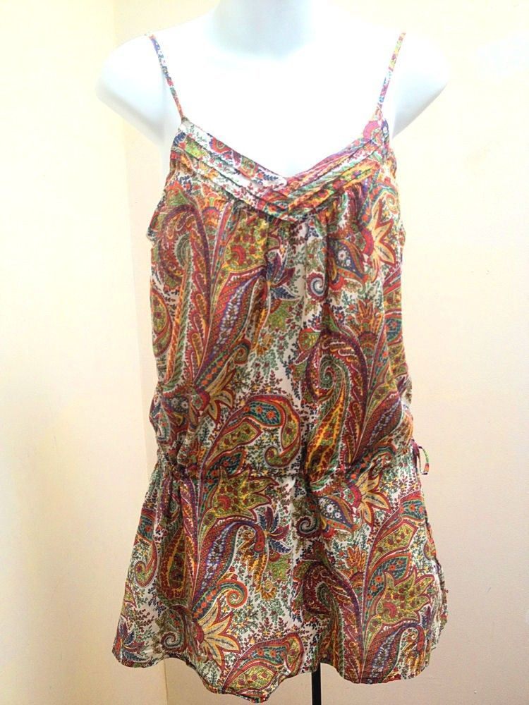 bd41db652f8 Zara S Tunic Top MultiColor Paisley Spaghetti Strap Tank Mini Dress  Drawstring - $19.57