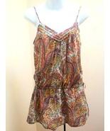 Zara S Tunic Top MultiColor Paisley Spaghetti Strap Tank Mini Dress Draw... - $19.57