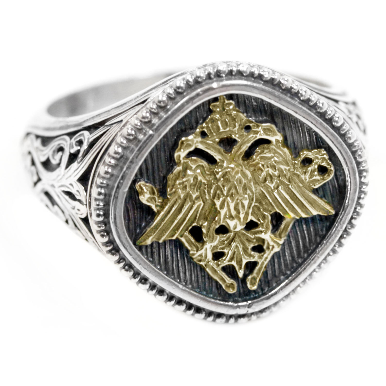 02002782 designer gerochristo gold silver double headed eagle ring 20