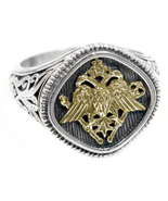 Gerochristo 2782 - Double Headed Eagle -Byzantine Gold & Silver Ring  /... - $450.00