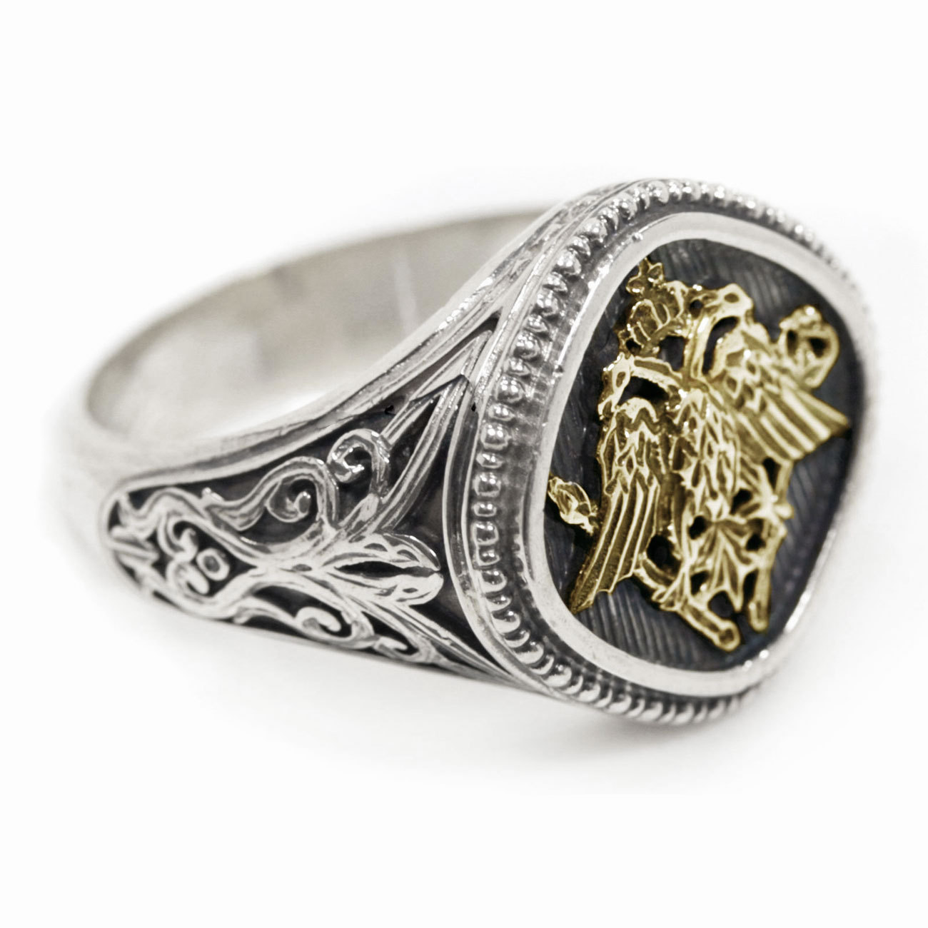 Gerochristo 2782 - Double Headed Eagle -Byzantine Gold & Silver Ring  / size 7