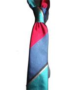 Mens necktie rich triple stripe, vintage silk skinny tie,matching pocket... - $19.50