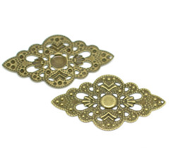 20 Bronze Tone Filigree Diamond Wraps Connector Embellishments 2x1 inch ... - $2.47