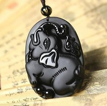2015 Year natural Obsidian Hand carved Elephant good luck pendant  - $26.72