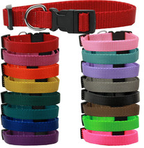 Plain Colored Nylon Dog Collars Adjustable Made in the USA - $5.90+