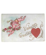 Valentine Greetings Silk Red Heart Cherubs Cupid Vintage Rose Co. Postcard - $4.99