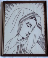 Embroidered Holy Mother in Gold Frame Hand Made Vintage - $11.99