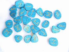 Hit Turquoise Howlite Rune Set Symbols Gemstone Healing Crystal Runes 25... - $19.99