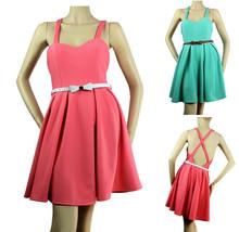 Pleated Skirt Open X-Back DRESS Zipper Back,Lining,Stretch Casual Junior... - $28.00+