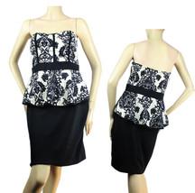 Flower Print Cute PEPLUM Dress Nice Ribed Stretch Casual Tube Dress Juni... - $29.99