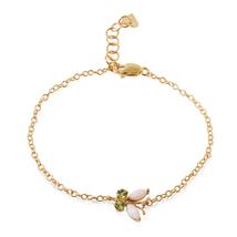 0.6 Ct 14k Solid Yellow Gold Flutter Opal Peridot Bracelet - €282,89 EUR+