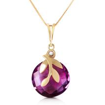 5.32 Ct 14k Solid Yellow Gold Necklace Checkerboard Cut Purple Amethyst& Diamond - $243.21 - $283.20