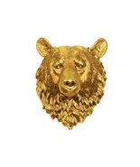 The Honey - Gold Resin Bear Head - Resin White Faux Taxidermy- Wall Decor - $94.99