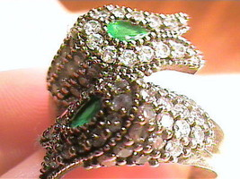 VINTAGE ANTIQUE EMERALD DUO OLD  SILVER RING 9 MEDIEVAL NATURAL SAPPHIRE... - £38.59 GBP