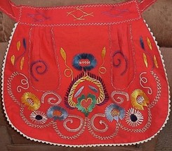 Vintage Embroidered Bright Colors Waist Half Apron Hand Made  - $15.95