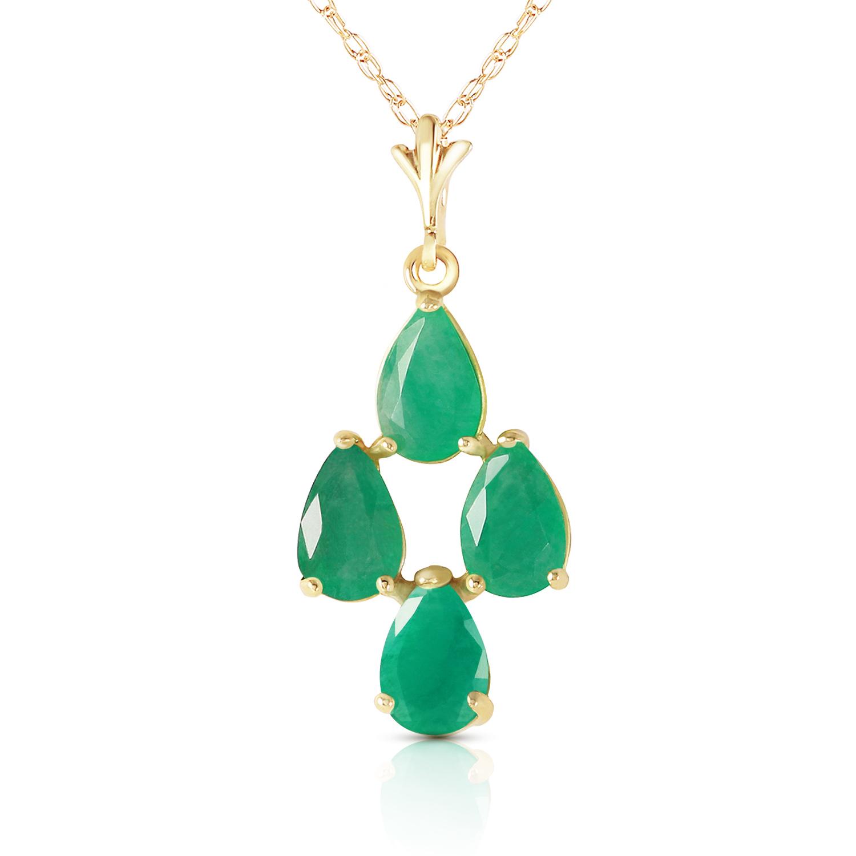 1.5 Carat 14k Solid Yellow Gold Love Portrait Emerald Neckalce - $239.19 - $278.18