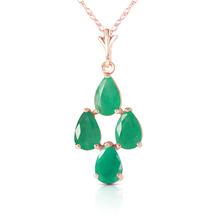 1.5 Carat 14k Solid Rose Gold Love Portrait Emerald Neckalce - $239.19+