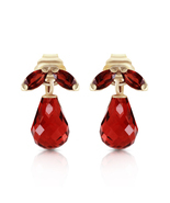 3.4 Ct 14k Solid Yellow Gold Love Interpretation Garnet Earrings - €125,65 EUR