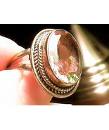 Russian Alexandrite Ring 5.5 SILVER total color change amber green sterl... - $112.03