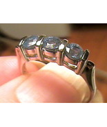 NATURAL BLUE SAPPHIRE tetra RING 7.5 WHITE GOLD MULTI GEM bold STERLING ... - $22.96