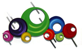 "Colorful Contemporary Modern Circle Wall Sculpture 37x 24 ""Bubbly #2"" wood-Metal - $299.99"