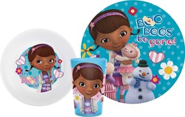 DOC MCSTUFFINS-5 PC. PLATE, BOWL AND CUP SET AND FLATWARE SET - $19.95