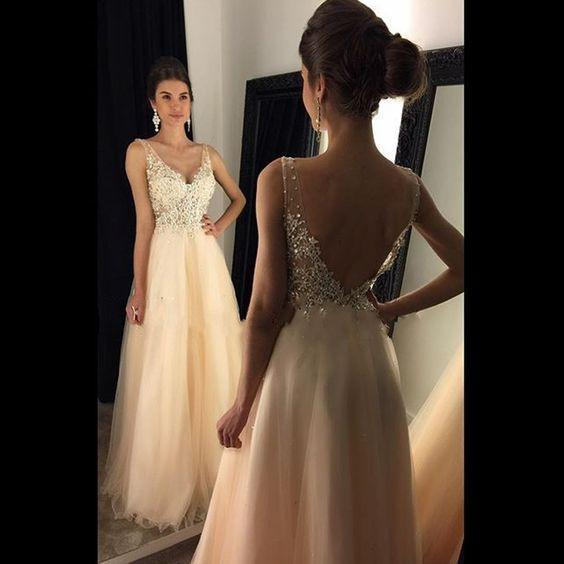 blush pink prom dress,long Prom Dresses,v-neck evening gown,evening dresses