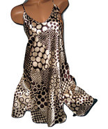 Beige Brown Dots Chemise Short Gown 1X 2X Plus Size Adjustable straps - $12.50