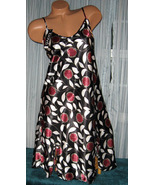 Black Floral Burst Chemise Short Gown 1X 2X Plus Size Adjustable straps - $12.50