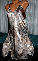 Gray Paisley Chemise Short Gown 2X Plus Size Adjustable straps - $12.50