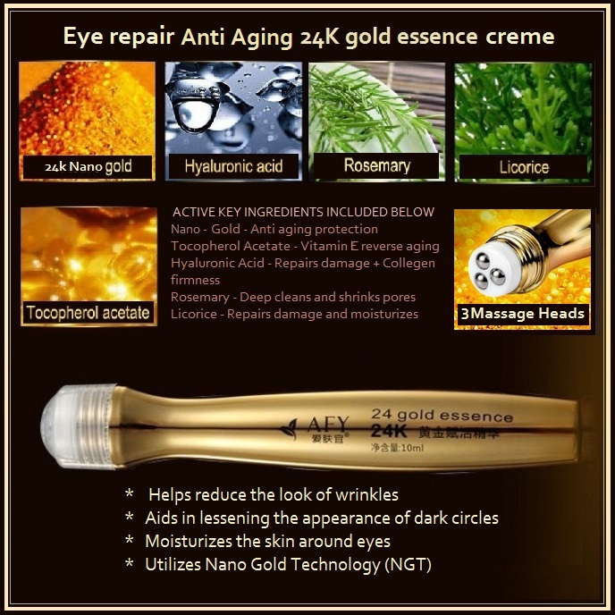 Anti-Wrinkle Anti-Aging 24K Nano Gold Essence Eye Creme Massage Roll On Pen