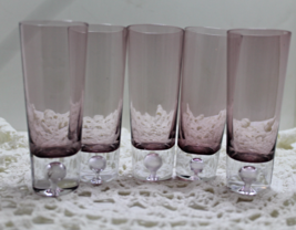 Vintage Set of FIVE Tall PURPLE Shot Glasses with BUBBLE in Base, Bar Wa... - $15.00