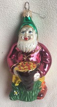 Garden Gnome Christmas Blown Glass Ornament Flowers Holiday Elf - $29.02