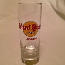 Hard Rock Cafe London Tall Shot Glass Shooter Red Logo Barware HRC - $19.34