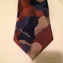 Oscar De La Renta Studio Tie Necktie Camouflage Navy Burgandy Made In USA - $19.34
