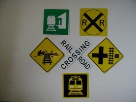 Metal Railroad Mini  Traffic Signs Set Of 6 Signs  Free Shipping - $34.65