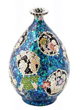 Lacquer inlaid mother of pearl  ceramic handmade bottle pottery jar porc... - $495.00