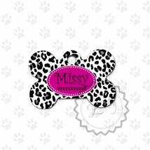 Cheetah print Pet tag, Hot Pink dog name metal ... - $8.99