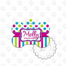 Colorful Pet tag, polka dots and stripes print ... - $8.99