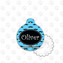 Blue Pet tag, mustaches print Dog tag, cute round metal tag for pets, ID... - $8.99