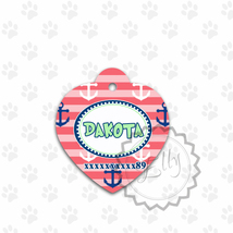 Nautical Cat or Dog Tag, Coral and Anchors design ID for pet, metal hear... - $8.99