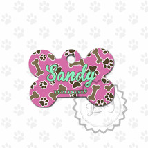 Bone Pet Tag, Pink and Brown dog tag, tags for all pets, metal ID tags, ... - $8.99