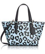 Coach Pale Blue Ocelot Embossed Textured Leather Mini Crosby 34334 [Appa... - $305.59