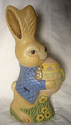 "Vaillancourt Folk Art 10 1/2""  Easter Bunny with Egg Signed by Judi!"