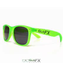 Rave clothing costume outfit GREEN SUNGLASSES wayferer shadez glow light up dark - $11.99