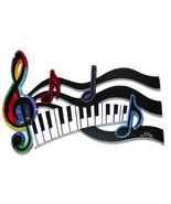 Colorful G Clef Music Note & Piano keys Abstract wood wall sculpture, mo... - $329.99