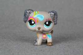 Littlest Pet Shop #2344 Glitter Sparkle Tattoo Gray Puppy Dog Dalmation  - $7.91