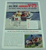 1960 Print Ad Johnson V-75 Sea Horse Outboard Motors Happy Family in Boat - $10.44