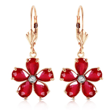 4.43 CTW 14k Solid Yellow Gold Lever Back Earrings Ruby Diamond - $496.15
